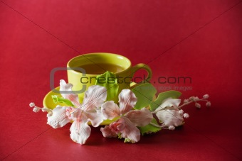 The cup of green tea with caramel orchid