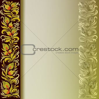 abstract background with golden floral ornament on black
