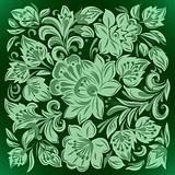 abstract background with green floral ornament