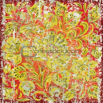 abstract background with grunge floral ornament