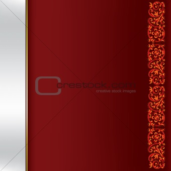 abstract background with red floral ornament on dark