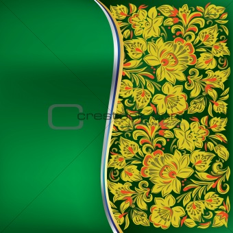 abstract background with yellow floral ornament on green