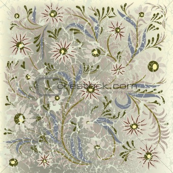 abstract cracked background with beige floral ornament