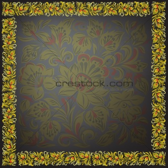 abstract floral ornament on a black background