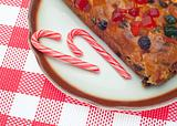 Holiday Fruit Cake with Candy Cane Candies