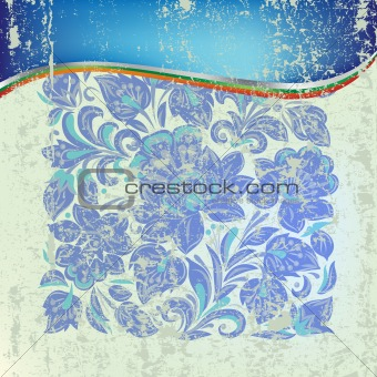 abstract grunge background with blue floral ornament on green