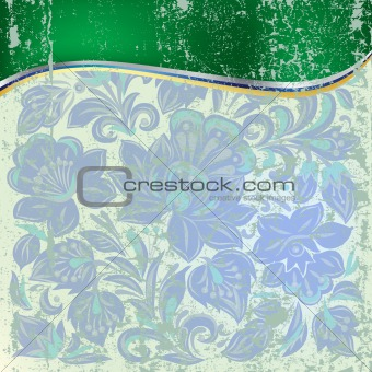 abstract grunge background with blue floral ornament
