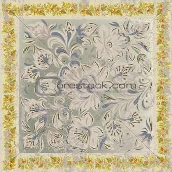 abstract grunge background with floral ornament beige