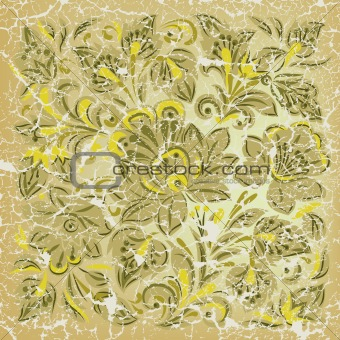 abstract grunge background with floral ornament yellow