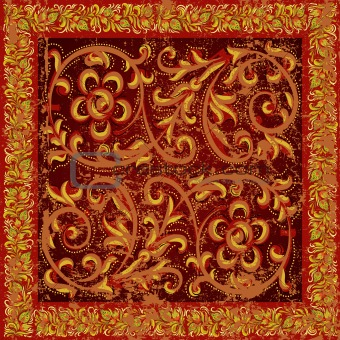 abstract grunge background with red floral ornament