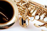 Gold Saxophone Close Up on White