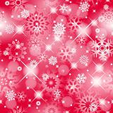 Christmas seamless red background with glitter white snowflakes.