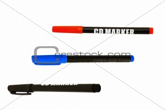 Three markers (blue, black and red), isolated on white