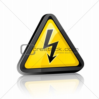 Three-dimensional Hazard warning sign with high voltage symbol
