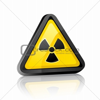 Three-dimensional Hazard warning sign with radiation symbol