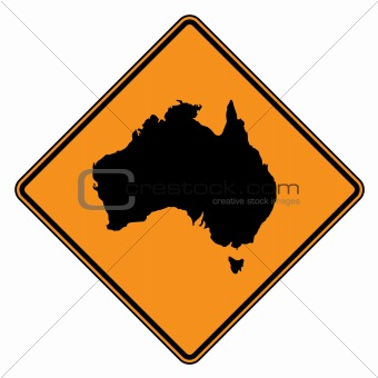 Australia map road sign