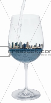 City in a wineglass