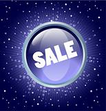sale button on the blue  background