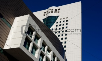 Business centre against a background of blue sky