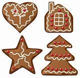 four decorated gingerbread cookies