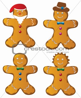 four  gingerbread cookies