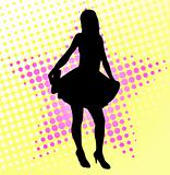 young woman silhouette on the halftone background