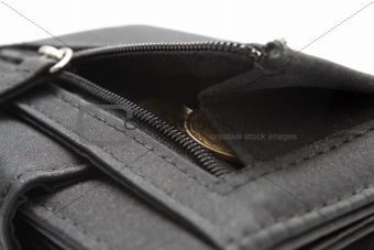 Black wallet with coins