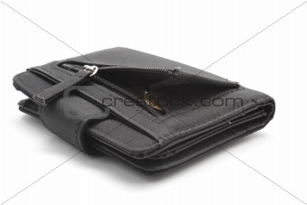 Black wallet with coins inside