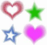 halftone heart and stars