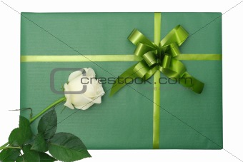 Green gift with white rose