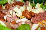 Meat products on toothpicks