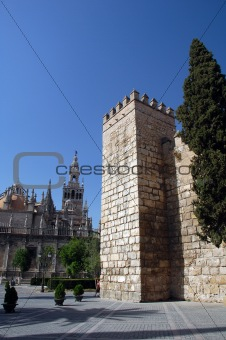 a castle ruin in seville, spain