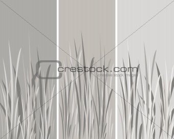 3 Grey Panels with Grass