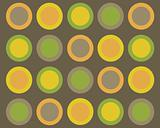 Retro brown, green, orange and yellow circles background