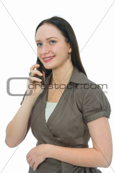 Business woman rings on mobile phone on white background