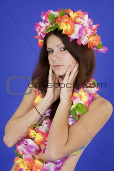 Teenage girl dressed as Hula Girl