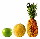 Isolated Pineapple, Cantaloupe and Green Apple