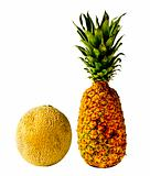 Isolated Pineapple and Cantaloupe
