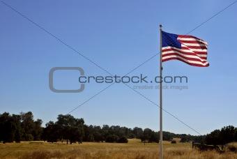 American Flag & California Landscape