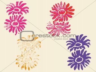 4 Grunge Flower Stamps