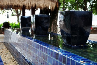 Blue ceramic pots.