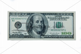 100 dollar note isolated on white background