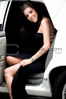 girl coming out a limousine