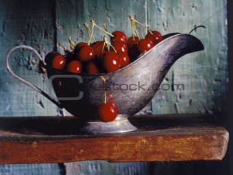 cherries in a gravy boat