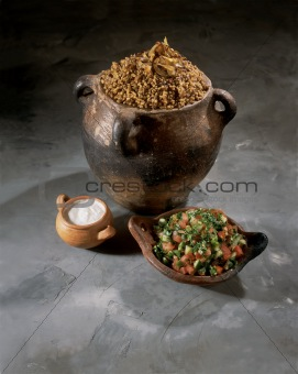 Palestinian Food Magadra Yogurt and Salad