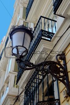 a lantern in a street in valencia