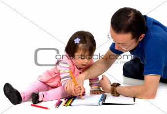 father teaching his daughter