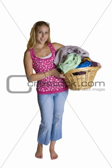 A beautiful young woman doing laundry