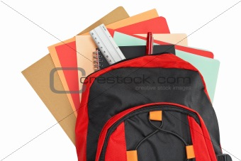 Backpack with school material