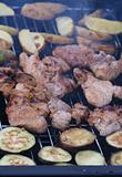Barbecue grilled meat and eggplants